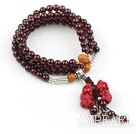 Natural Garnet Prayer Bracelet with Sterling Silver Accessories and Pixiu Accessory and Yellow Jade ( Rosary Bracelet 108 Beads)