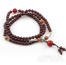 Natural Garnet Prayer Bracelet with Sterling Silver Accessories and Lotus Accessory and Yellow Jade ( Rosary Bracelet 108 Beads)