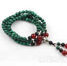 Natural Malachite Prayer Bracelet with Sterling Silver Accessories and Black Agate and Carnelian ( Rosary Bracelet 108 Beads)