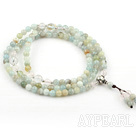 Natural Flower Aquamarine Prayer Bracelet with Clear Crystal and Sterling Silver Accessories ( Rosary Bracelet Total 108 Beads)