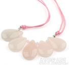 Baisse style simple quartz rose Collier en forme d'éventail avec filetage rose