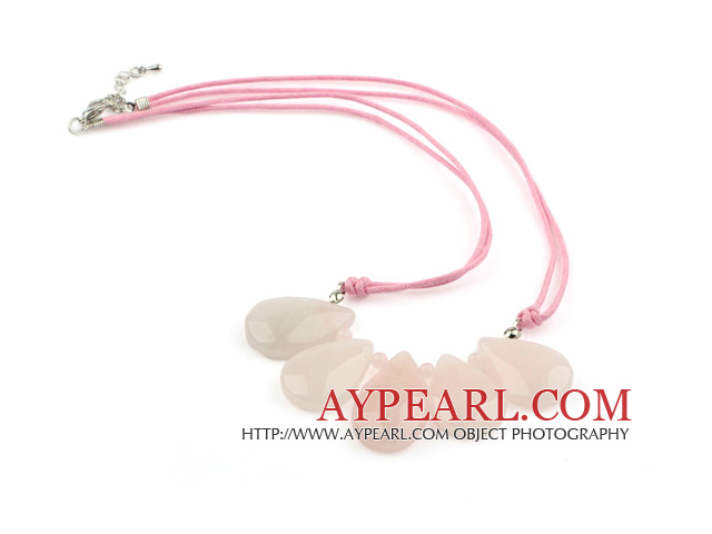 Simple Style Drop Rose Quartz Fan Shape Necklace with Pink Thread