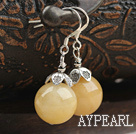 14mm Natural Yellow Jade Earrings with 925 Sterling Silver Hooks