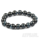 10mm Round Blue Tiger Eye Stretch Bangle Bracelet