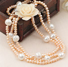Natural Pink Freshwater Pearl Necklace ( Can also be bracelet )