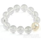 14mm Natural Clear Crystal and Mosaics White Shell Stretch Bangle Bracelet