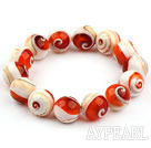14mm Natural Nautilus Beaded Elastic Bangle Bracelet