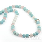 Naturlig Aquamarine og Rose Quartz og Carved White Sea Shell halskjede med Sterling Silver Accessory