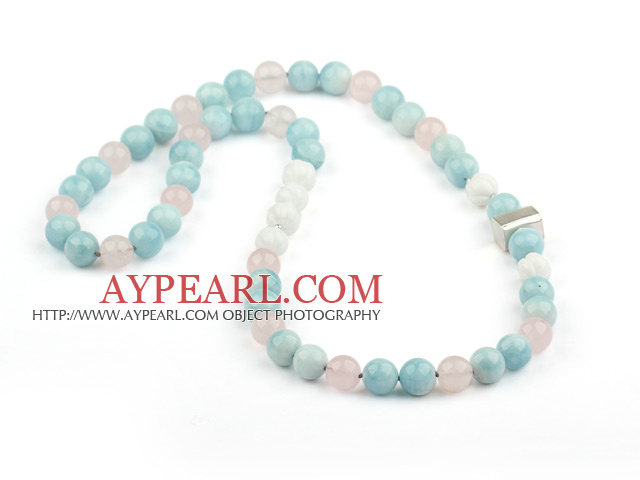 Natural Aquamarine and Rose Quartz and Carved White Sea Shell Necklace with Sterling Silver Accessory
