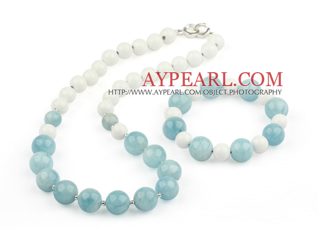 Natural Aquamarine and White Sea Shell Set ( Necklace and Matched Bracelet )