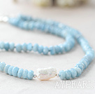 Natural Faceted Abacus Shape Aquamarine and Biwa Pearl Necklace