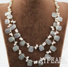 White Freshwater Pearl and Serpentine Jade Necklace