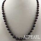 Wholesale Classic Design Round Garnet Graduated Necklace with Lobster Clasp