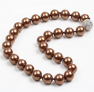 14mm Coffee Color Round Sea Shell Beaded Necklace with Magnetic Clasp