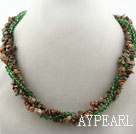 Wholesale Multi Strands Green Piebald Stone and Green Crystal Necklace