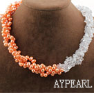 Wholesale Assorted Multi Strands Pink Freshwater Pearl and Clear Crystal Necklace