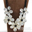 Wholesale Big and Shining Style White Lip Shell Flower and Black Crystal Necklace