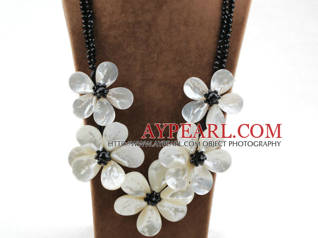 Big and Shining Style White Lip Shell Flower and Black Crystal Necklace