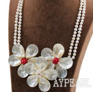 Wholesale Shining Style Black Freshwater Pearl and White Lip Shell Flower and Red Coral Necklace