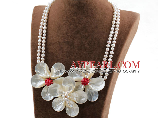 Shining Style Black Freshwater Pearl and White Lip Shell Flower and Red Coral Necklace