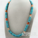 Wholesale Disc Shape Turquoise and Agate Necklace with Metal Accessories and S Shape Clasp