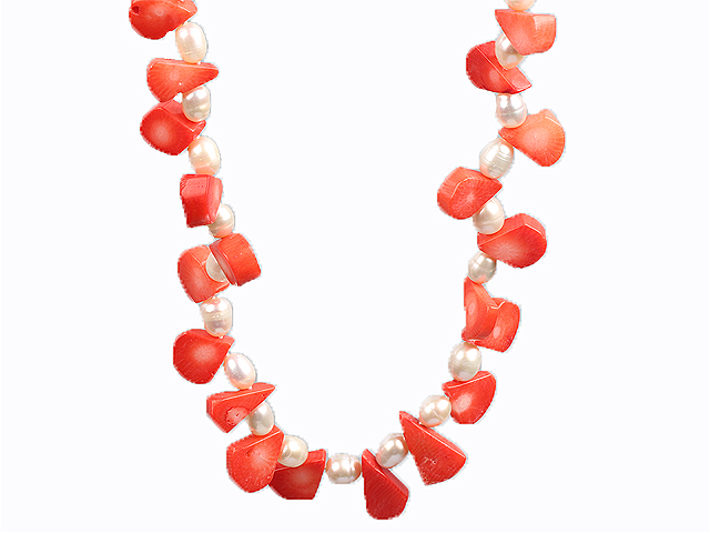 White Freshwater Pearl and Orange Red Coral Choker Necklace
