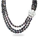 Three Strands 8-9mm Black Baroque Pearl Necklace with White Shell Flower Clasp