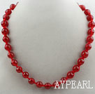 Fashion Style Round 10mm Red Carnelian Beaded Woven Drawstring Necklace