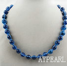 Wholesale Fashion Style Round 10mm Blue Agate Beaded Woven Drawstring Necklace