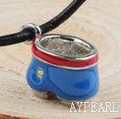 Fashion Style Simple Drum Shape Blue Metal Pendant Necklace with Leather Thread