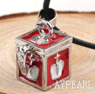 Wholesale Fashion Style Red Color Square Shape Wish Box Metal Pendant Necklace with Leather Thread