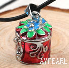 Fashion Style Red Color Cylinder Shape Wish Box Metal Pendant Necklace with Leather Thread