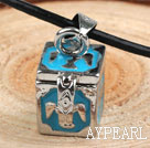 Wholesale Fashion Style Blue Color Square Shape Wish Box Metal Pendant Necklace with Leather Thread