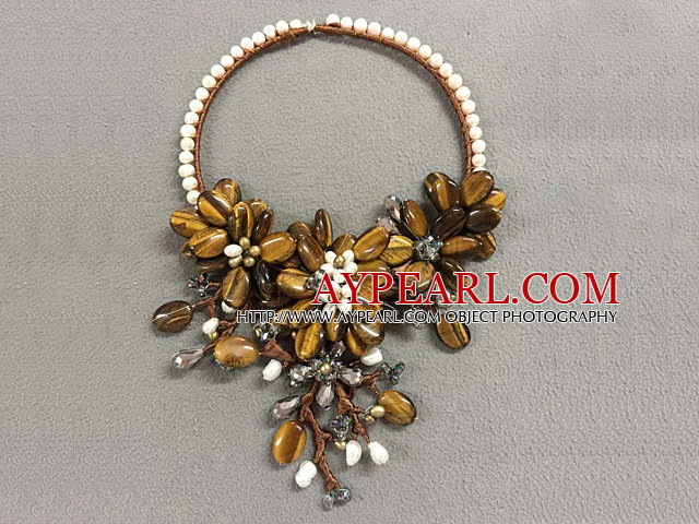 Fantastic Statement Style Natural White Freshwater Pearl Crystal Tiger Eye Stone Flower Party Necklace