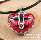 Wholesale Fashion Style Red Color Heart Shape Wish Box Metal Pendant Necklace with Leather Thread