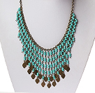 Vintage Style Turquoise Tassel Necklace with Bronze Chain