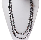 Black Series Black Pearl and Black Agate and Smoky Quartz Long Necklace