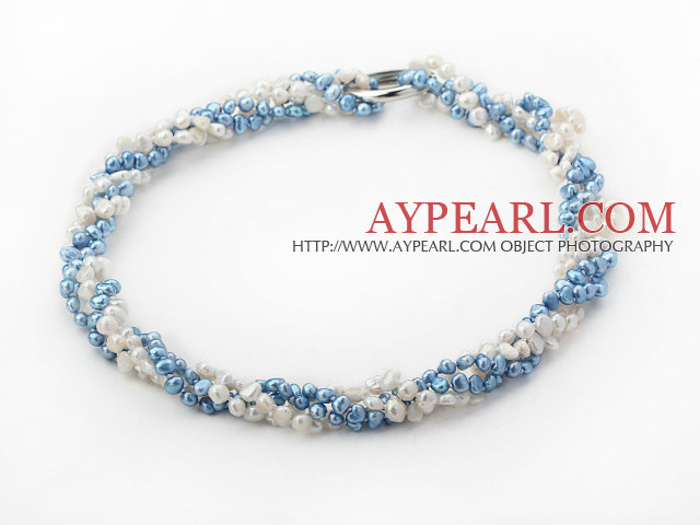 White and Dark Blue Freshwater Pearl Necklace ( Can be worn in several ways )