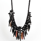 Chunky Style Incidence Angle Crystallized Multi Color Agate Graduated Necklace