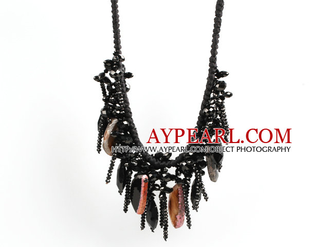 Sparkly Bib Shape BLack Series Crystal Agate Statement Party Necklace With Black Thread Woven Drawstring Chain