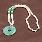 Wholesale Fashion Nautral White Freshwater Pearl Donut Shape Aventurine Pendant Necklace