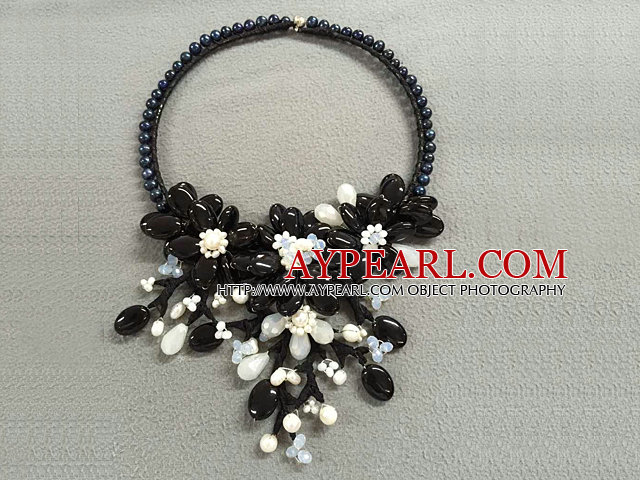 Fantastic Statement Style Natural Freshwater Pearl Black Agate Opal Crystal Flower Party Necklace