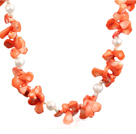 Vit Sötvatten Pearl och Orange Coral Choker Necklace