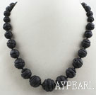 Carved Round Black Volcanic Rock Stone Beaded Graduated Necklace
