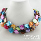 Assorted Multi Color Shell og Crystal flettet Choker Necklace