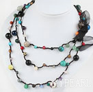 Wholesale Long Style Assorted Multi Color Stone Thread Necklace ( can also be bracelet )