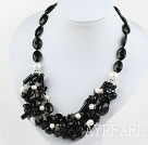 Black Series Black Agate and White Ferskvann Pearl Necklace