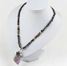 Black Freshwater Pearl Necklace with Big Amethyst Pendant Necklace