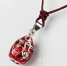 Wholesale Fashion and Simple Style Red Wishbox Pendant Necklace with Brown Thread