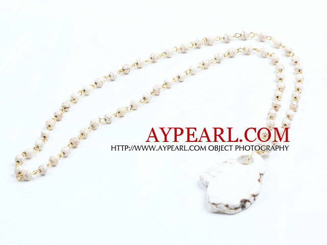 Simple Style Single Strand White Howlite Pendant Necklace